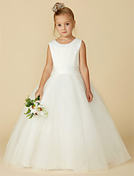 cheap -A-Line Floor Length Flower Girl Dress - Satin / Tulle Sleeveless Jewel Neck with Bow(s) / Buttons / First Communion