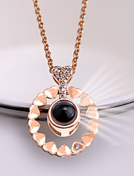 cheap -Women's Charm Necklace Classic Heart Ladies Trendy Korean Cute Rhinestone Alloy Gold Silver 42+5 cm Necklace Jewelry 1pc For School Date