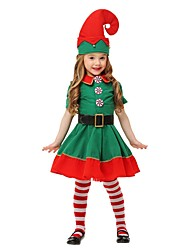 cheap -Frozen Elf Socks / Long Stockings Party Costume Christmas Dress Santa Clothes Kid's Boys' Halloween Christmas Christmas Halloween Children's Day Festival / Holiday Polyester Green / Dark Green