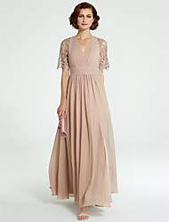 cheap -A-Line Mother of the Bride Dress V Neck Floor Length Chiffon Lace Short Sleeve with Lace Pleats 2020