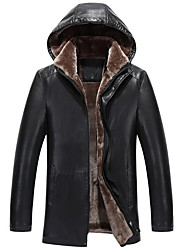 cheap -Men's Daily Regular Fur Coat, Solid Colored Hooded Long Sleeve Goatskin Black / Brown