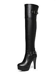 cheap -Women's Boots Over-The-Knee Boots Chunky Heel Round Toe PU Over The Knee Boots Fall & Winter Black / Party & Evening