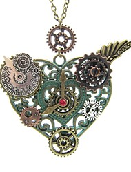 cheap -Women's Pendant Necklace Vintage Style Wings Heart Ladies Stylish Vintage Steampunk Alloy Ancient Bronze 65 cm Necklace Jewelry 1pc For Gift Street