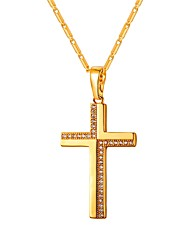 cheap -Women's Clear AAA Cubic Zirconia Pendant Necklace Classic Cross Ladies Classic Copper Gold Silver 55 cm Necklace Jewelry 1pc For Gift Daily