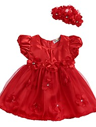cheap -Baby Girls' Basic Daily Floral Layered Mesh Lace Trims Sleeveless Regular Regular Above Knee Dress Red / Toddler