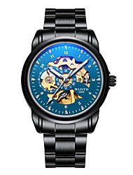 cheap -Men's Skeleton Watch Wrist Watch Mechanical Watch Japanese Automatic self-winding Stainless Steel Black 30 m Water Resistant / Waterproof Chronograph New Design Analog Luxury Bangle - Blue Black