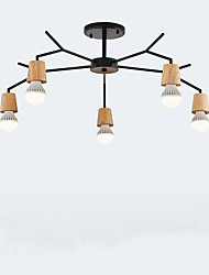 cheap -Simple wooden and iron pendant lamp in living room, study bedroom and living room