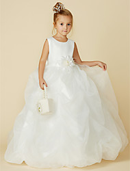 cheap -Ball Gown Floor Length Flower Girl Dress - Organza / Satin Sleeveless Jewel Neck with Bow(s) / Sash / Ribbon / Flower / First Communion