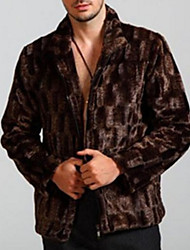 cheap -Men's Daily Short Fur Coat, Solid Colored Stand Long Sleeve Faux Fur Brown
