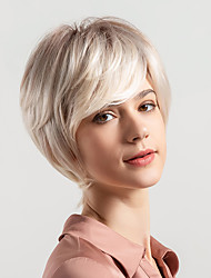 cheap -Human Hair Capless Wigs Natural Wave Pixie Cut / Layered Haircut / Short Bob / Short Hairstyles 2019 New Arrival / Ombre Hair / Natural Hairline Multi-color Short Capless Wig Women's