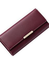 cheap -Women's PU Wallet Solid Color Black / Light Grey / Wine