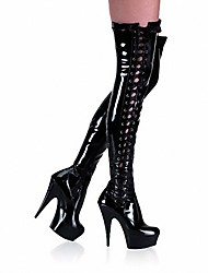 cheap -Women's Boots Sexy Boots Stiletto Heel / Platform Lace-up Patent Leather Thigh-high Boots Fashion Boots / Club Shoes Fall / Winter Black / Party & Evening / Knee High Boots
