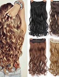 Недорогие -Синтетические экстензии Естественные волны Искусственные волосы Высококачественное термостойкое волокно 22 дюймы Наращивание волос Клип во / на Блондинка 1 шт. синтетический Удлинитель Жен.
