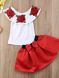cheap -Toddler Girls' Active Street chic Party Going out Solid Colored Floral Bow Embroidered Sleeveless Regular Regular Cotton Clothing Set Red