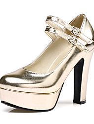 cheap -Women's Heels Chunky Heel Round Toe Buckle PU(Polyurethane) Classic Spring &  Fall Black / Gold / Silver / Party & Evening