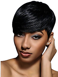 cheap -Human Hair Blend Wig Short Wavy Natural Wave Pixie Cut Short Hairstyles 2020 With Bangs Berry Natural Wave Short African American Wig For Black Women Women's Natural Black #1B Strawberry Blonde