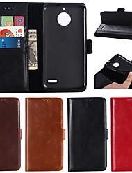 Недорогие -Кейс для Назначение Motorola MOTO G6 / Moto G6 Plus / Мото G5 Plus Кошелек / Бумажник для карт / со стендом Чехол Однотонный Твердый Настоящая кожа
