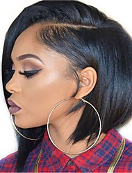 cheap -Remy Human Hair Full Lace Lace Front Wig Bob style Brazilian Hair Straight Natural Straight Natural Black Wig 130% 150% 180% Density Women Easy dressing Best Quality Fashion Comfortable Women's Short