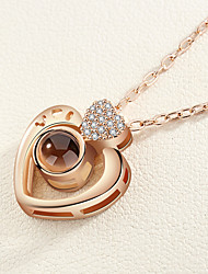 cheap -Women's Charm Necklace Classic Heart Ladies Romantic Korean Cute Rhinestone Alloy Gold Silver 42+5 cm Necklace Jewelry 1pc For Date Going out