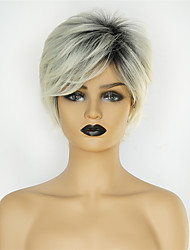 cheap -Synthetic Wig Natural Straight Pixie Cut Wig Short Black / Grey Synthetic Hair 8 inch Women's Fashionable Design New Arrival Ombre Hair Gray / Natural Hairline / Natural Hairline