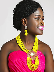 cheap -Women's Beaded Necklace Layered Ladies Fashion African Austria Crystal Earrings Jewelry Pink / Hot Pink / Champagne For Wedding