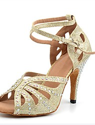 cheap -Women's Latin Shoes Sandal Heel Slim High Heel Synthetics Rhinestone Buckle Gold / Performance