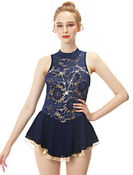 cheap -21Grams Figure Skating Dress Women's Girls' Ice Skating Dress Dark Blue Open Back Spandex Stretch Yarn Lace High Elasticity Professional Competition Skating Wear Handmade Fashion Sleeveless Ice