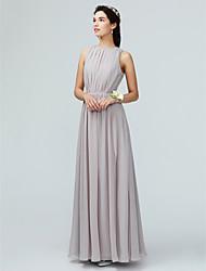 cheap -A-Line Jewel Neck Floor Length Chiffon Bridesmaid Dress with Pleats / Split Front