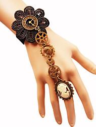 cheap -Women's Ring Bracelet / Slave bracelet Braided Flower Gear Slaves Of Gold Ladies Hyperbole Gothic Steampunk Kinetic Plush Fabric Bracelet Jewelry Black For Carnival Masquerade Cosplay Costumes