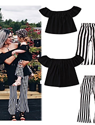cheap -2pcs Adults Kids Toddler Mommy and Me Active Basic Daily Holiday Black & White Solid Colored Striped Print Short Sleeve Regular Cotton Clothing Set Black