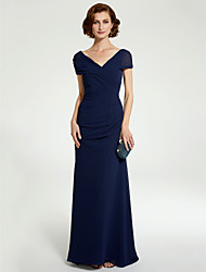 cheap -A-Line Mother of the Bride Dress V Neck Floor Length Chiffon Sleeveless with Lace Ruching 2020