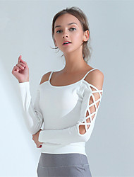 cheap -Women's Spaghetti Strap Criss Cross Crop Top Solid Color Zumba Yoga Dance Top Long Sleeve Activewear Breathable Quick Dry Sweat-wicking High Elasticity Slim