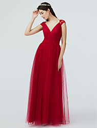 cheap -A-Line V Neck Floor Length Lace / Tulle Bridesmaid Dress with Lace / Pleats / Sparkle & Shine