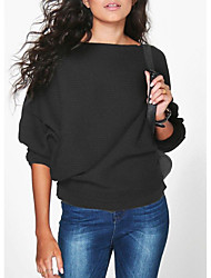 cheap -Women's Daily Solid Colored Long Sleeve Regular Pullover Sweater Jumper Black / Wine / White S / M / L