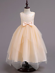 cheap -Princess Maxi Pageant Flower Girl Dresses - Organza / Tulle / Cotton Sleeveless Jewel Neck with Bow(s) / Appliques / Solid