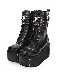 cheap -Women's Lolita Shoes Boots Punk Wedge Heel Shoes Solid Colored 8 cm Black PU Leather / Polyurethane Leather Halloween Costumes