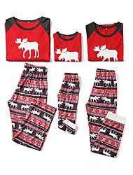 cheap -Family Look Family Matching Outfits Clothing Set Christmas Daily Geometric Christmas Long Sleeve Red Green Basic