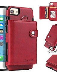 cheap -Case For Apple iPhone 8 Plus / iPhone 8 / iPhone 7 Plus Wallet / Card Holder / Shockproof Back Cover Solid Colored Soft TPU