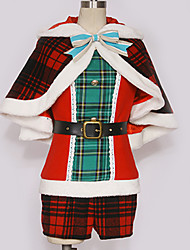 cheap -Inspired by Love Live Santa Suit Cosplay Anime Cosplay Costumes Japanese Cosplay Suits Plaid / Checkered Mixed Color Top Shawl Belt For Men's Women's / Bow / More Accessories / Shorts / Bow