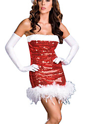 cheap -Uniforms Costume Christmas Dress Santa Clothes Adults Highschool Women's Dresses Christmas Christmas Halloween Carnival Festival / Holiday Spandex Polyester Red Carnival Costumes Sexy Lady Sequin