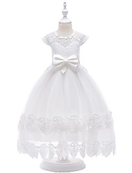 cheap -Princess Floor Length Flower Girl Dress - Lace / Tulle Sleeveless Jewel Neck with Bow(s) / Lace / First Communion