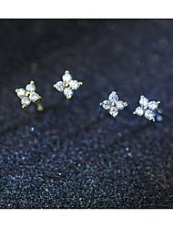cheap -Women's Clear Cubic Zirconia Classic Stud Earrings Rhinestone S925 Sterling Silver Earrings Flower Ladies Stylish Sweet Elegant Jewelry Gold / Silver For Date Work 1 Pair