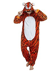 cheap -Adults' Kigurumi Pajamas Tiger Onesie Pajamas Flannel Fabric Orange Cosplay For Men and Women Animal Sleepwear Cartoon Festival / Holiday Costumes / Stripes