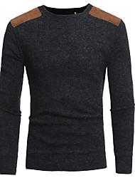 cheap -Men's Weekend Active Solid Colored Long Sleeve Slim Regular Pullover Sweater Jumper, Round Neck Black / Navy Blue / Gray M / L / XL