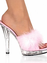cheap -Women's Clogs & Mules Furry Feather Stiletto Heel Feather Patent Leather Club Shoes / Lucite Heel Spring / Summer Red / Pink / White / Wedding / Party & Evening / Party & Evening / EU42