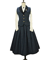 cheap -Artistic / Retro Sweet Lolita Dress Corset Girls' Female Japanese Cosplay Costumes Black / Red / Blue Stripes Vintage Sleeveless Sleeveless Long Length