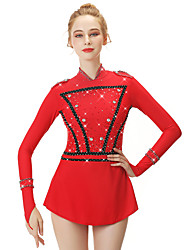 cheap -21Grams Figure Skating Dress Women's Girls' Ice Skating Dress Red Spandex Stretch Yarn High Elasticity Professional Competition Skating Wear Handmade Fashion Long Sleeve Ice Skating Winter Sports