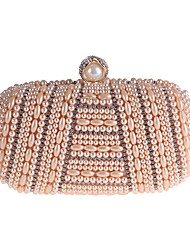 cheap -Women's Bags Polyester Evening Bag Pearls Crystals Solid Color for Wedding / Party / Event / Party White / Black / Champagne / Rhinestone Crystal Evening Bags