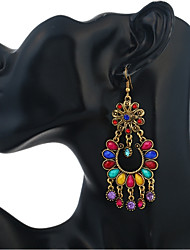 cheap -Women's Drop Earrings Hanging Earrings Hollow Out Flower Rainbow Ladies Vintage Ethnic African Resin Rhinestone Earrings Jewelry Rainbow / Red / Green For Daily 1 Pair