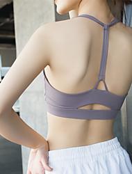 cheap -Women's Sports Bra Sports Bra Top Yoga Top T Back Nylon Zumba Yoga Running High Impact Freedom Padded Medium Support White Black Light Purple Solid Colored / Stretchy / Wireless